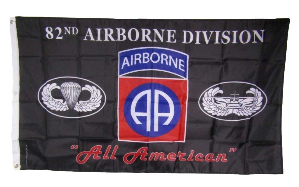 3x5 U.S. Army 82nd Airborne All American Division Black 150D