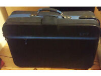 Large Blue and Black Suitcase with Wheels