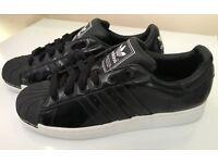 Adidas Superstar Black with white midsole UK09