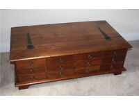 Wooden Chest / Blanket box with Drawers - VG condition - warm mid-dark wood Laura Ashley