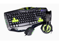 E-Blue Cobra Bundle Gaming Keyboard Mouse Headset (Green)