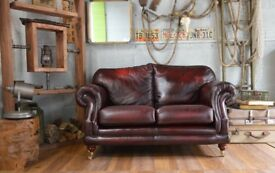 Thomas Lloyds Chesterfield Leather 2 Seater Sofa Ox Blood