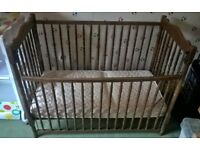 Solid wood cot bed with Mamas & Papas mattress