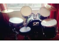 FULL CB Drum kit. Inc stool, cymbals, tuition books