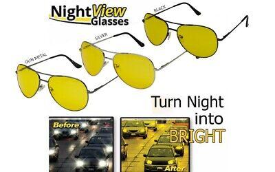 HD Night Vision Glasses Driving Aviator Sunglasses MEN Yellow Lens New UV400 (Yellow Sunglasses Men)