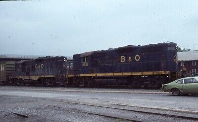 B&O BALTIMORE & OHIO C&O Railroad Train BRUNSWICK MD Original 1985 Photo Slide