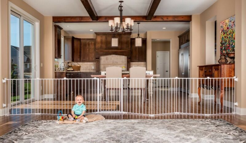 Baby Child Dog Safety Gate 16 Feet Long Extra Wide Metal Fence 4 in 1 Play Yard