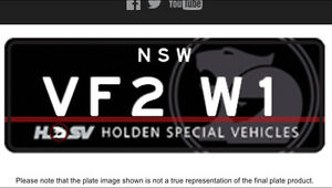 Vf gtsr w1 Licence plate for your hsv w1 Windsor Hawkesbury Area Preview
