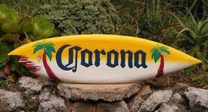 Corona Wood Surfboard Beer Tiki Bar Sign w/ shark bite Pub Man Cave 39