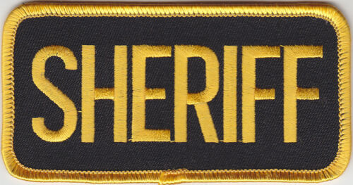 "SHERIFF Gold on Black Front Panel Patch 4 X 2  (4"" wide by 2"" high)"