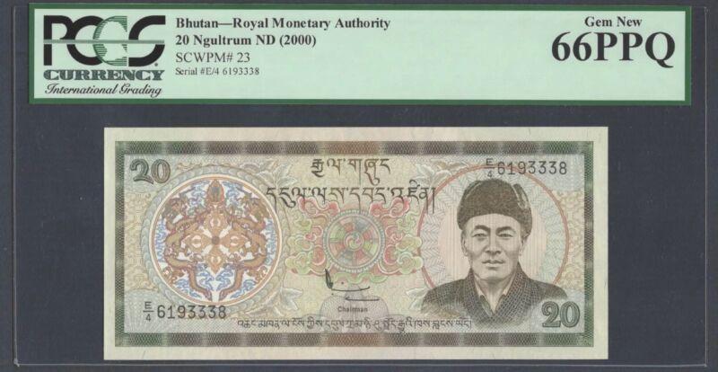 "Bhutan 20 Ngultrum 2000 Pick# 23 PCGS: 66 PPQ ""Gem New""(#941)"