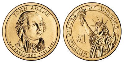 2007 D John Adams Presidential One Dollar Coin U.S. Mint Rolls Money Coins Cents