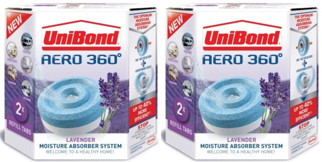 4 x 450g Unibond Aero 360 LAVENDER Moisture Absorber Refill large dehumidifier