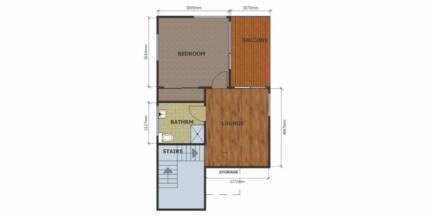 Bachelor Flat. (Big bedroom, Sitting room, bathroom and balcony)