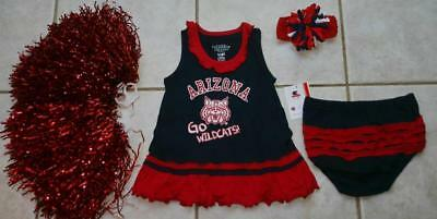 CHEERLEADER COSTUME HALLOWEEN OUTFIT ARIZONA WILDCATS 6 - 12 MONTHS POM POMS BOW