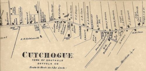 Cutchogue Peconic NY 1873  Map with Businesses and Homeowners Names Shown