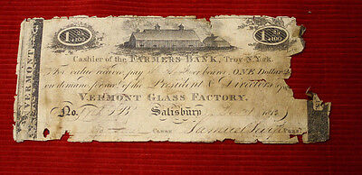 1813 $1.25 Farmers Bank, Troy, New York NY Vermont Glass Factory - Free Shipping