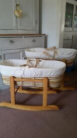 Moses baskets and rocking stands. 2 available - £20 each or both for £35