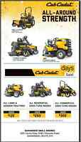 CUB CADET SUMMER,AND AUGUST SPECIAL 0% FIN FOR 3YRS