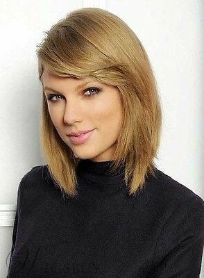 Taylor Swift Style Mid-length Straight LOB Synthetic Womens Wig 12 Inches (Taylor Swift Wig)