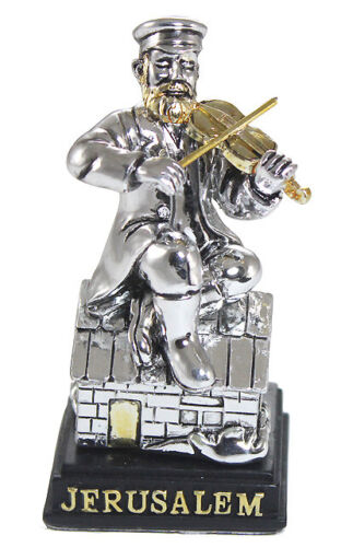 Silver Plated Fiddler On The Roof Figurine - Jewish Judaica Gift Figure