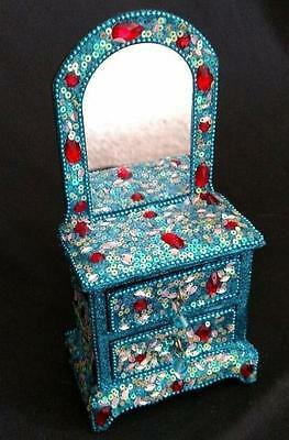 Mirrored Dresser 2 Drawer Jewelry Box Turquoise & red Beaded Crystal Embellished 2 Drawer Mirrored Dresser