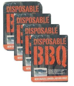 4 x Disposable BBQ Barbecue Grill Outdoo  Cooking Charcoal Firelighters Camping