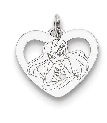 Sterling Silver Disney Ariel Heart Charm Necklace Complete with 18