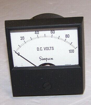 Simpson Analog Panel Meter Model 2122 0-100 Dc Volts 1000 Ohmsvolt Cat 17451