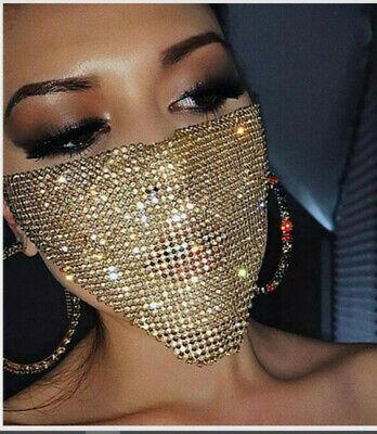 Glitzer Maske MUND NASEN SCHUTZ Gold Party NIETEN Gesicht Mundschutz