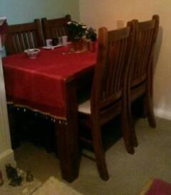 Stylish hardwood table/chairs