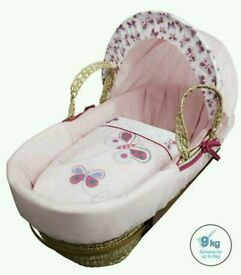 Kinder valley butterfly moses basket. Pink. Brand new in sealed packs. 3 left in stock only.