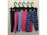 5 pairs of girls leggings aged 12-18 months / 1-1.5 years.