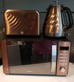 Swan Copper Microwave, Toaster and cordless kettle