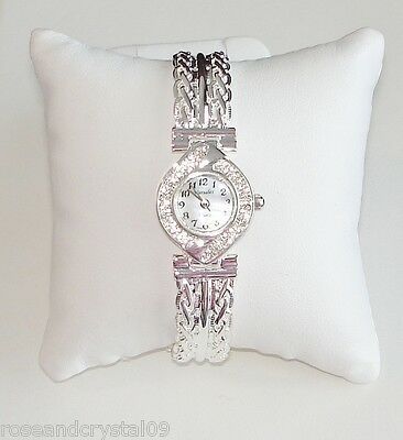 CHARM~AUSTRIAN CRYSTAL SILVER TONE LADIES BRACELET WATCH NEW