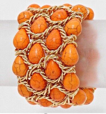Orange Heavy Turquoise Coral Cuff Wide Chunky Costume Stone  Bracelet 6.5
