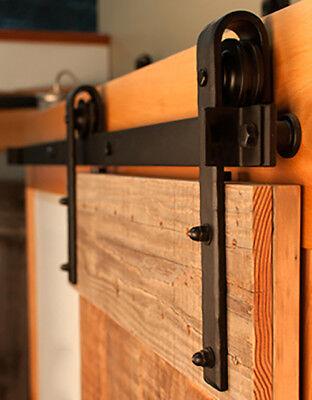 6.6 FT Black Country Style Sliding Barn Door Hardware Track Rail Kit w/ Rollers