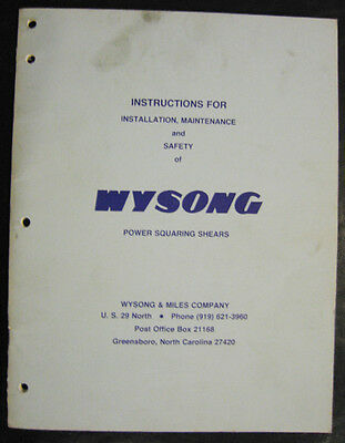 Wysong Mechanical Shear Instructions For Installation Maintenance Manual