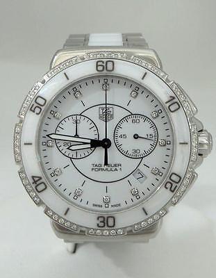 TAG HEUER FORMULA 1 ONE WHITE DIAMOND STEEL CERAMIC CHRONOGRAPH WATCH CAH1213