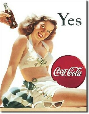 Coca Cola Coke Yes White Bathing Suit Advertising Vintage Retro Metal Tin Sign