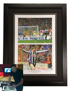 Chris Waddle Sheffield Wednesday semi-final signed Black frame Black Dble Mount