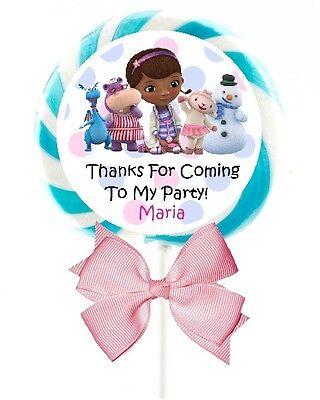 DOC MCSTUFFINS BIRTHDAY LOLLIPOP ROUND PARTY STICKERS FAVORS 1.5