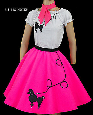 - 3PC Neon PINK 50's Poodle Skirt outfit Girl Sizes 10,11,12,13 Waist 24