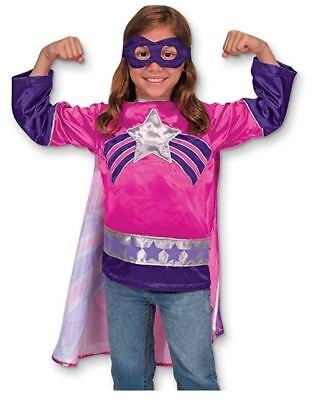 Melissa & Doug Super Heroine Role Play Costume Set 3 pc - Tunic, Cape, Mask