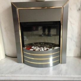 Fireplace . Marble Hearth & plinth and electric fire. In excellent condition, £200 ono
