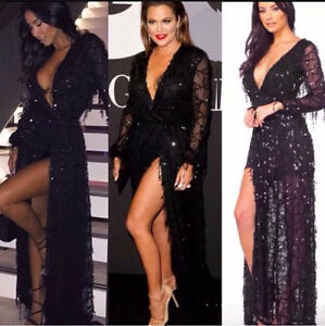 Bandage Black Sequin Long Sleeve Maxi Evening Formal Cocktail Dress Surfers Paradise Gold Coast City Preview