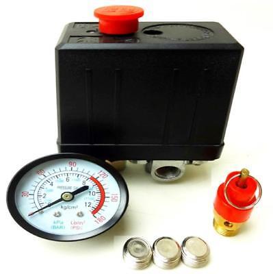 Air Compressor Pressure Switch 1/4 BSP 4 Port Single Phase Safety Valve Gauge