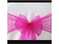 FOR SALE! BRAND NEW! 100 Fuchsia Pink Organza sashes