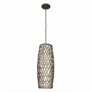 TWO OUTDOOR PENDANT LIGHT FIXTURES - BLACK RATTAN - NEW IN BOXES