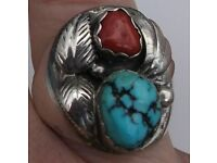 Native American Sterling/Turquoise/Coral Ring